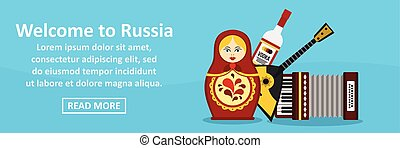 Welcome to russia banner horizontal concept. Flat...