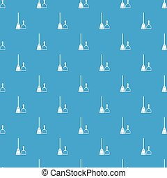 Broom and dustpan pattern seamless blue - Broom and dustpan...