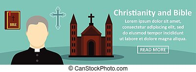 Christianity and bible banner horizontal concept. Flat...
