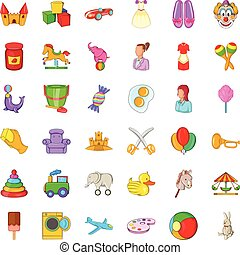 Baby sitter icons set, cartoon style - Baby sitter icons...
