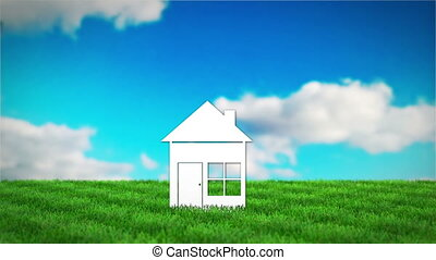 paper house on grass field. 3D render animation