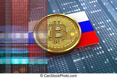 3d bitcoin Russia flag - 3d illustration of bitcoin over...