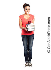 Beautiful college student - An isolated shot of a beautiful...