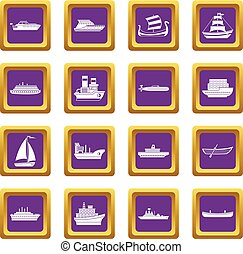 Sea transport icons set purple - Sea transport icons set in...