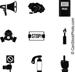 Revolution icon set, simple style