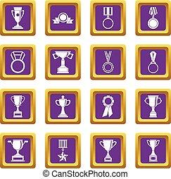 Trophy icons set purple