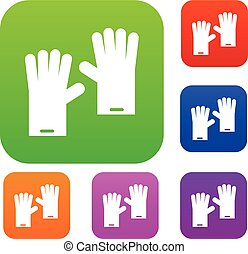 Rubber gloves set collection - Rubber gloves set icon in...