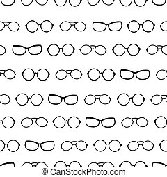 Vector black and white drawing glasses accessories seamless...