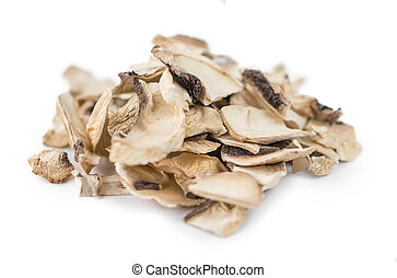 Dried Mushrooms isolated on white background - Dried...