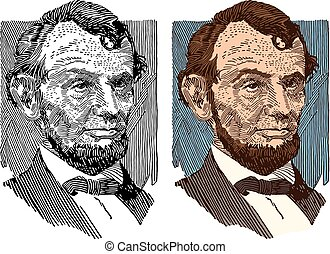 Abraham Lincoln - A portrait of the sixteenth president of...