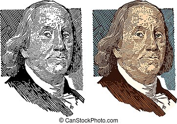 Benjamin Franklin - A portrait of American Founding Father...