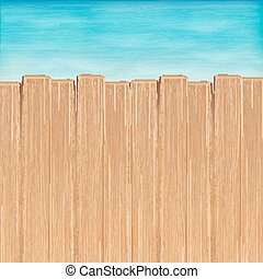 brown wood board over sea water background