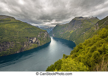 Geirangerfjord seen from viewpoint in More og Romsdal...