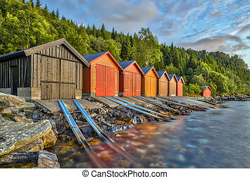 Colorful Boathouse in Norway - Colorful Boathouse in...