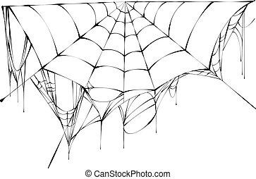 Black spiderweb on white background