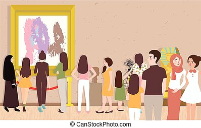 art gallery exhibition busy many people man woman children visitor looking for painting contemporary artist collection hanging on wall and sculpture