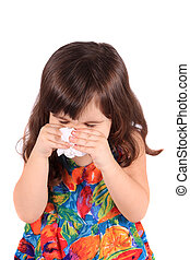 Sick little girl - Little three year old girl having the...