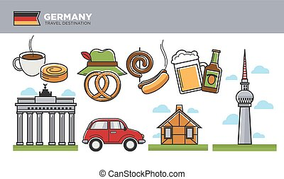 German travel destination promotional poster with cultural...