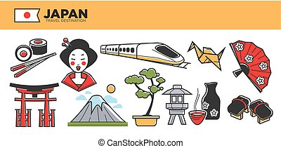 Japan travel destination promotional poster with cultural...