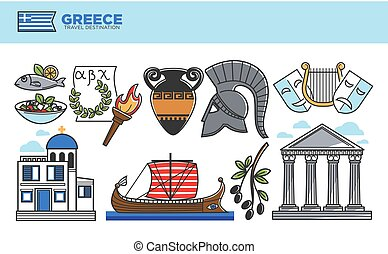 Greece travel destination promotional poster with cultural...