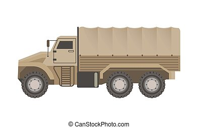Military truck with trunk upholstered with tent isolated...