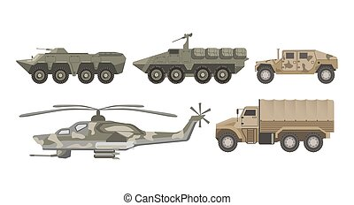 Military transport and army aviation machines vector...
