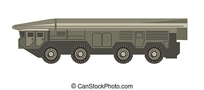 Huge military vehicle with armored corpus isolated...