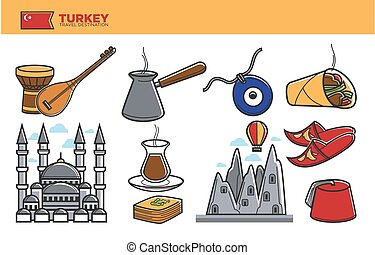 Turkey travel destination promotional poster with national...