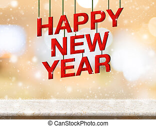 Happy new year red wood text new year on marble table top...