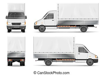Semi truck isolated on white. Commercial cargo lorry. Delivery truck vector template from side, back, front View.