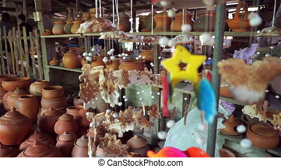 Many earthenwares at shop