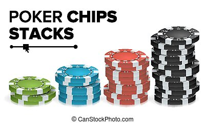 Casino Chips Stacks Vector. Realistic Colored Online Poker...
