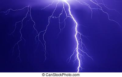 Discharge lightning in dark sky