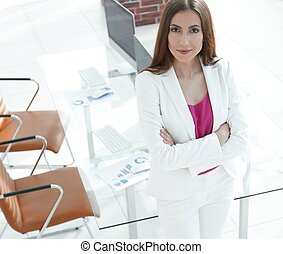 woman economist in the office - woman, senior accountant at...