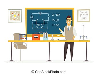 Physics Classroom - male teacher composition at the...