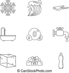 Pure water form icon set, outline style - Pure water form...