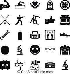 Healthy nation icons set, simple style - Healthy nation...