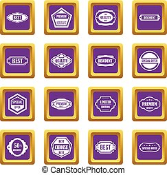 Golden labels icons set purple