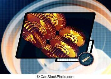 gold, gear, technology