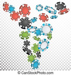 Poker Chips Rain Vector. Casino Chips Falling Down. Transparent Background. Winning Prize Money Illustration