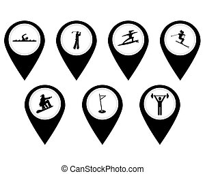 Different buttons for sports swimming surfing bobsled...