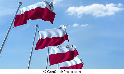 Row of waving flags of Poland agaist blue sky, seamless loop...