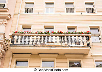 balcony with flower pots and chairs - Nice balcony in...