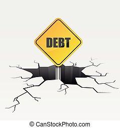 Crack Sign Debt - detailed illustration of a cracked ground...