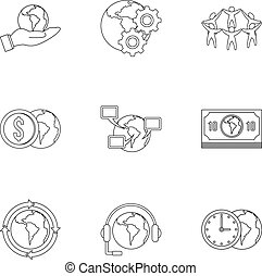Global network icon set, outline style - Global network icon...