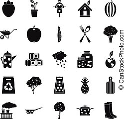 Granger icons set, simple style - Granger icons set. Simple...