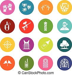Paintball icons many colors set