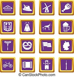 Germany icons set purple - Germany icons set in purple color...
