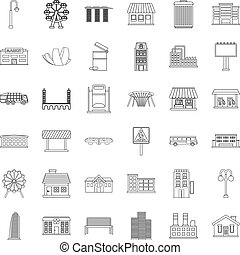 City icons set, outline style