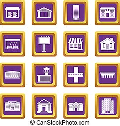 City infrastructure items icons set purple - City...